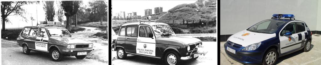 Coches de la Policía Municipal. Dos modelos de la casa Renault, el Renault 4 y el Renault 12