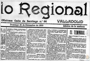 Diario Regional que anuncia crecida del Pisuerga en 1909