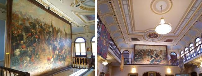 La batalla de treviño se conserva en la Academia de Caballería de Valladolid. El óleo, de 3,90 x 6,40 metros, fue medalla de bronce en la Exposición General de Bellas Artes de 1897