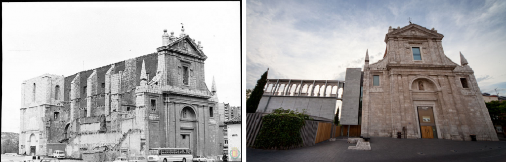 La iglesia de San Agustín en 1973 y en la actualidad