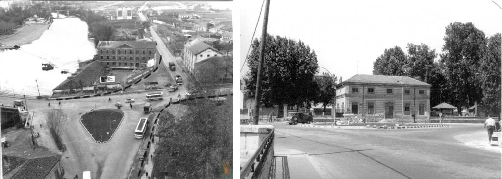 Plaza de San Bartolomé en la década de 1960. A la izquierda, las fábricas 'La Perla del Pisuerga' (desaparecida) y 'La Perla' (hoy hotel Marqués de la Ensenada). A la derecha, la estación de tren.