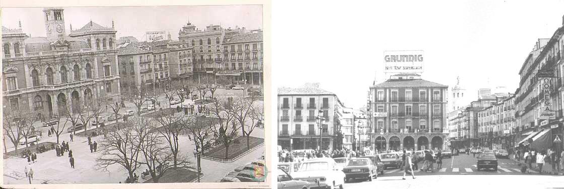 La Plaza Mayor en los años 60 (izquierda) y en los 80 (derecha), con grandes rótulos publicitarios.