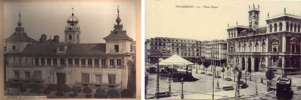 A la izquierda, la antigua Consistorial, demolida en 1875. El nuevo edificio (derecha, década años 20) incorpora un torreón central de estilo medieval en homenaje al anterior edificio.