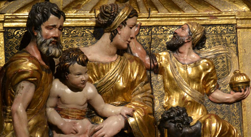 Detalle del retablo. En el rostro se puede apreciar la técnica del estofado.