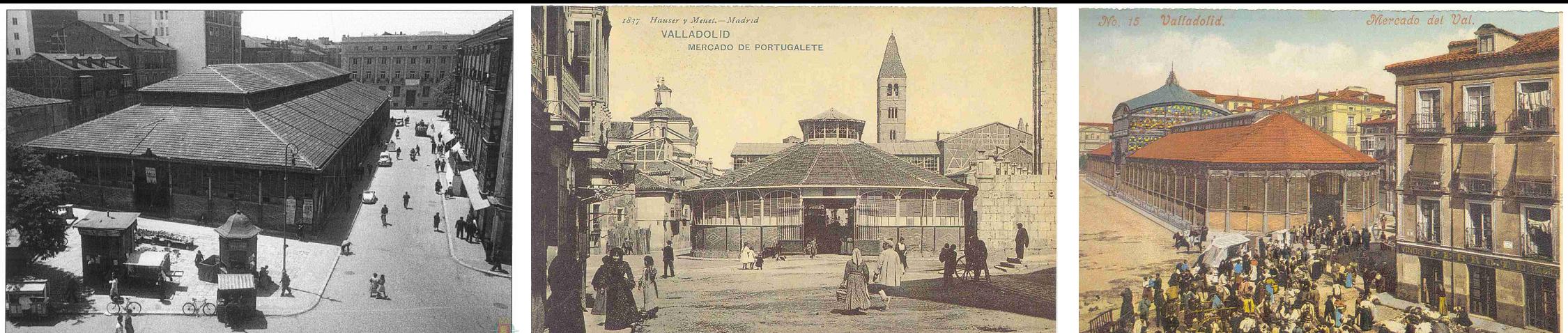 De izquierda a derecha: Mercado del Campillo en los años 60, Mercado del Portugalete a finales del siglo XIX y Mercado del Val a principios del siglo XX, con la cúpula hoy desaparecida.