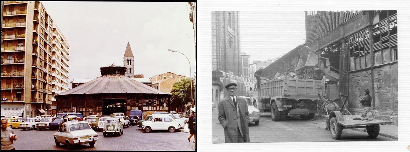 El Mercado del Portugalete, en estado de ruina en los años 70. A la derecha, una imagen tomada durante su derribo.