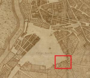 El Campo Grande y el convento de San José Padres Capuchinos (marcado en rojo) en el mapa de Bentura Seco de 1738.