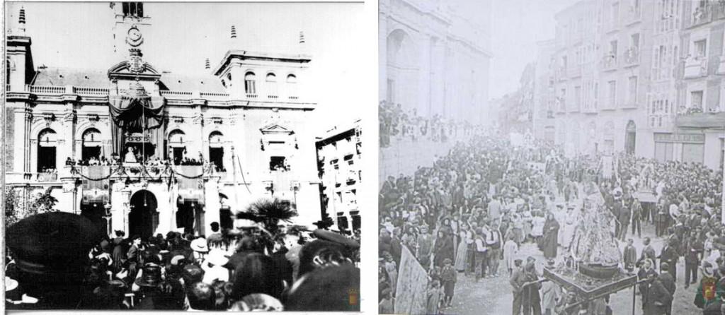 Izquierda: coronación canónica. Derecha: multitudinaria procesión en los años 20.