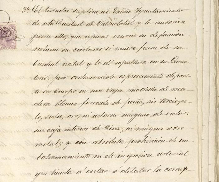 Fragmento del testamento de Zorrilla en el que manifiesta su deseo de ser inhumado en Valladolid.