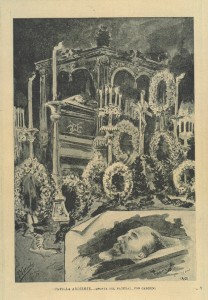 Apunte del natural de la capilla ardiente, por Carcedo, publicado en la revista Blanco y negro.