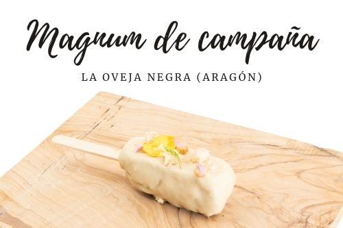 Tapa Magnum de campaña del restaurante La oveja negra (Aragón)